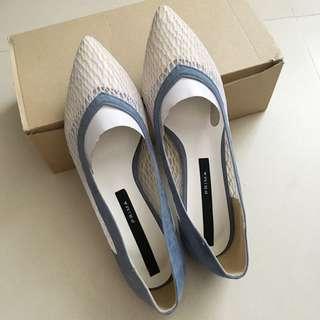 韓牌prima 粉藍 白 Lace 高跟鞋 24.5號