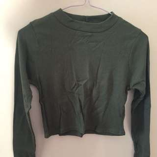 Boohoo Long Sleeve Ribbed Khaki Crop Top