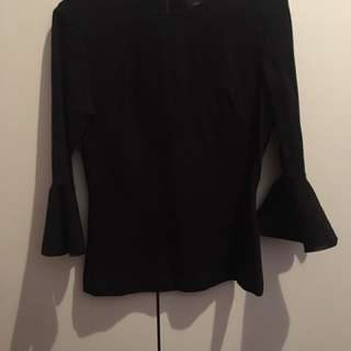 CUE - Black Three Quarter Sleeve Top - Size 6