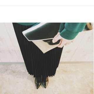 黑色 百褶裙  Vintage Moussy