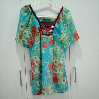 P.S Floral Blouse With Sequin Details (Size 14)