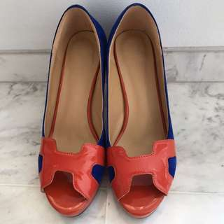 Cobalt Blue And orange Peep Toe