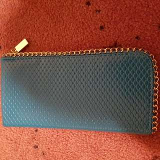 Blue Wallet With Gold Zip