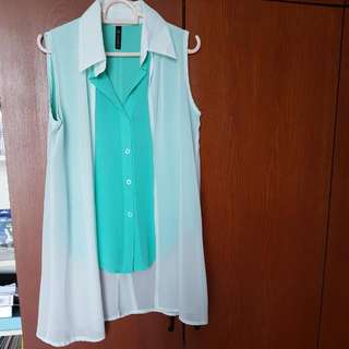 Emerald Turquoise White Top