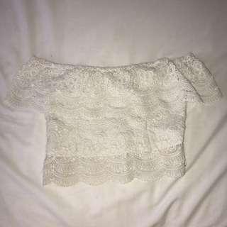 Lace Off Shoulder Crop