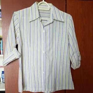 Sleeved Office Wear Striped Top