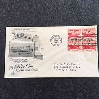 US 1949 6c Air Mail Blk4 FDC Stamp