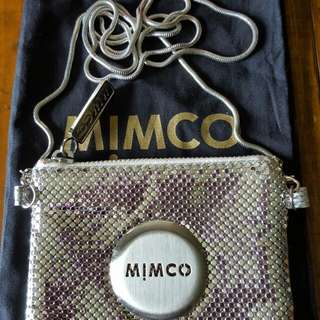 Mimco Silver Mesh Pouch With Detachable Strap In Excellent Used Condition Like New