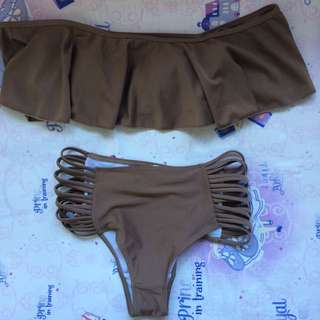 Brown off shoulder high waist swim set