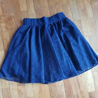 Stretchable Lace Skirt Dark Blue