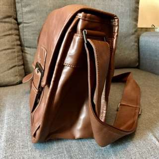Faux Leather Messenger Bag -Almost Like New