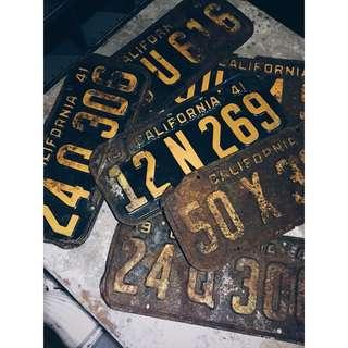 //ORI DECO 工業風老件// 美國加州 老車牌 1941