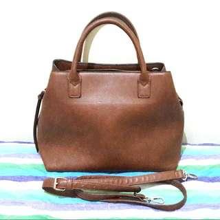 Brown Handbag With Strap By Stradivarius