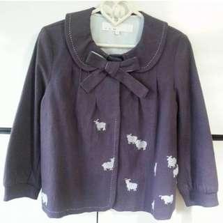 a la sha 純棉斗篷七分袖 外套 S號 藕紫色 綿羊