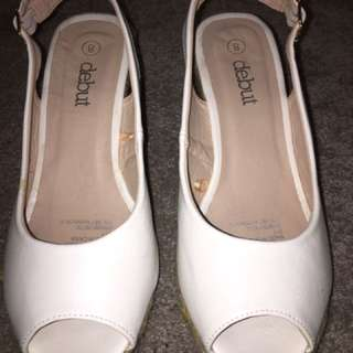 White Synthetic Leather Wedges