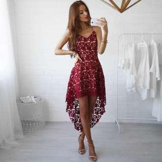 best Selling! Red Dress Asymmetrical Hem