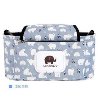 [現貨] 2017新款花色加蓋多功能嬰兒推車掛袋、媽媽收納包(淺藍白熊)