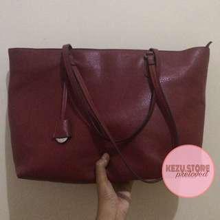 Stradivarius Shopper Bag Maroon