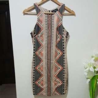 womens aztec print bodycon dress