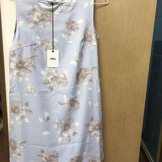 全新 GRL 水墨花粉藍洋裝