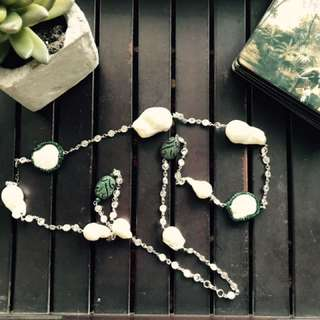 Pearl And Green Crystal Long Necklace Beautiful