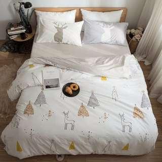 北歐麋鹿與小樹 床包組 G