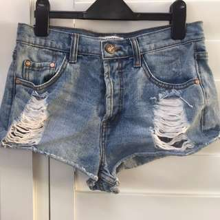 Distressed Denim Shorts Size UK 10