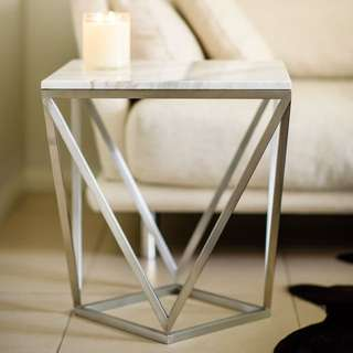 Carrara Marble Silver Side/Bedside Table