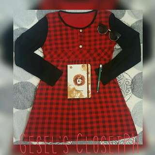 Red&Black Checkered Long Sleeve Dress