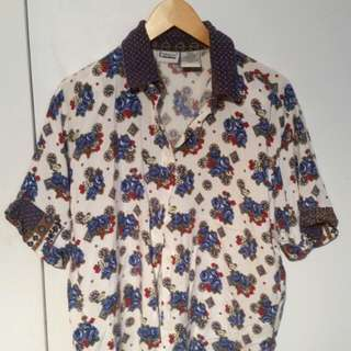 Vintage Patterned Button Up T