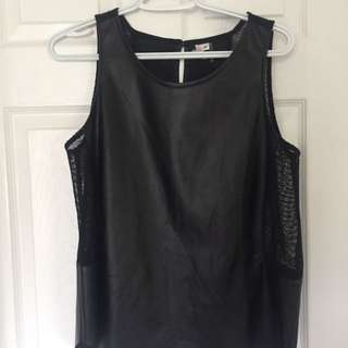 Faux Leather & Mesh Tank