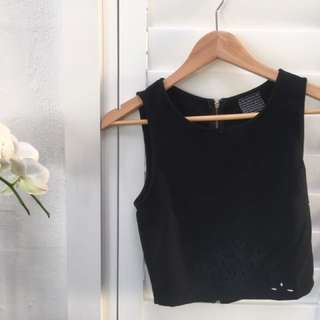 Small Women's Cropped Black Zip-Back Top w/ Pattered Hole Detail