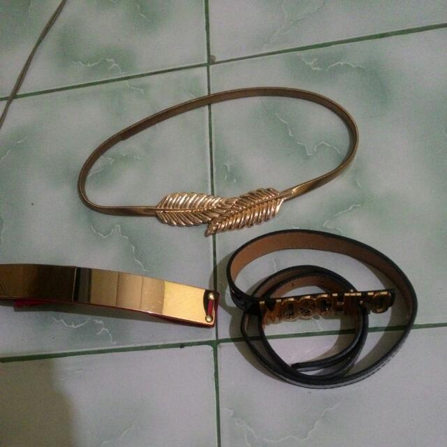 3 In 1 Belt. (New)Plat Belt Bkk ,(preloved) Tali Pinggang Daun Bkk Dan (New) Tali Pinggang Moschino