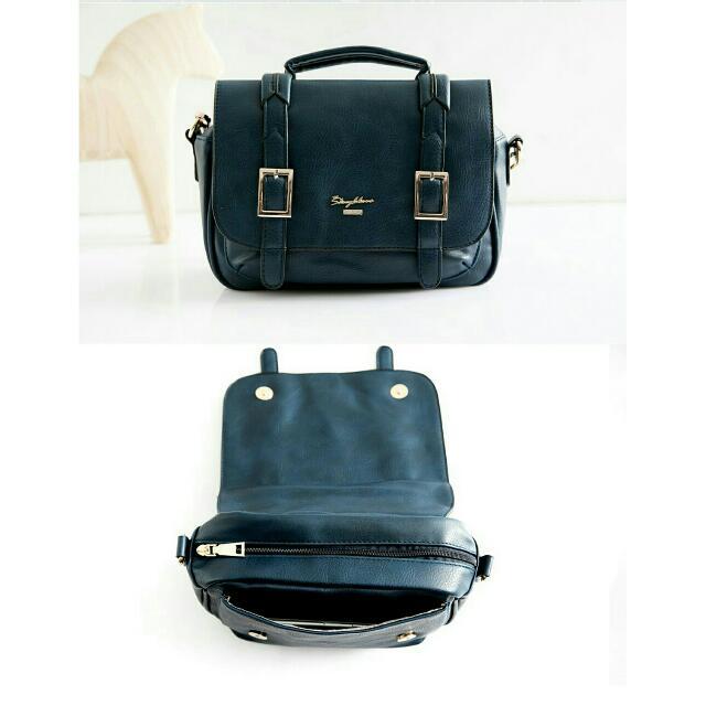 原590 黑色 天藍小舖 自訂雙皮帶釦斜背包 側背包 手提包 肩背包 包包 皮包 皮革