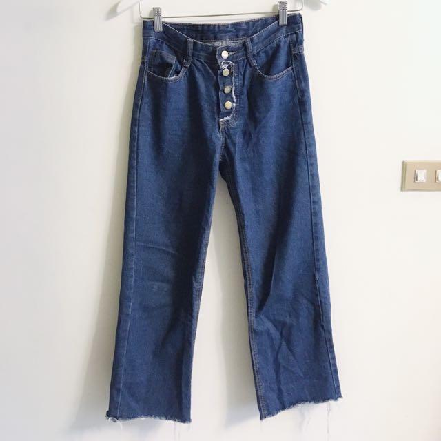 排扣 寬牛仔抽鬚褲 寬褲