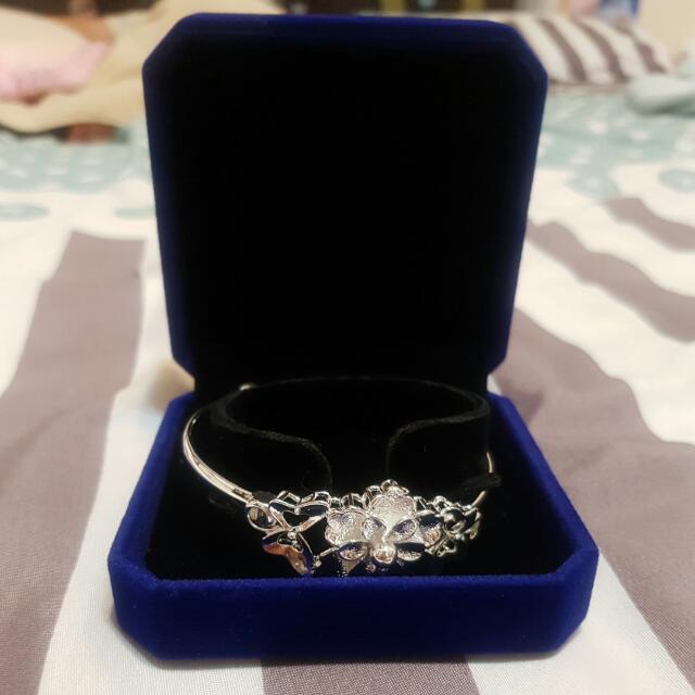 銀飾手鍊 可調大小 附盒子