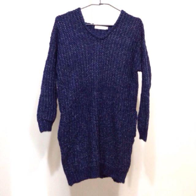 長版針織毛衣/針織連身裙/藍色 #冬季衣櫃出清