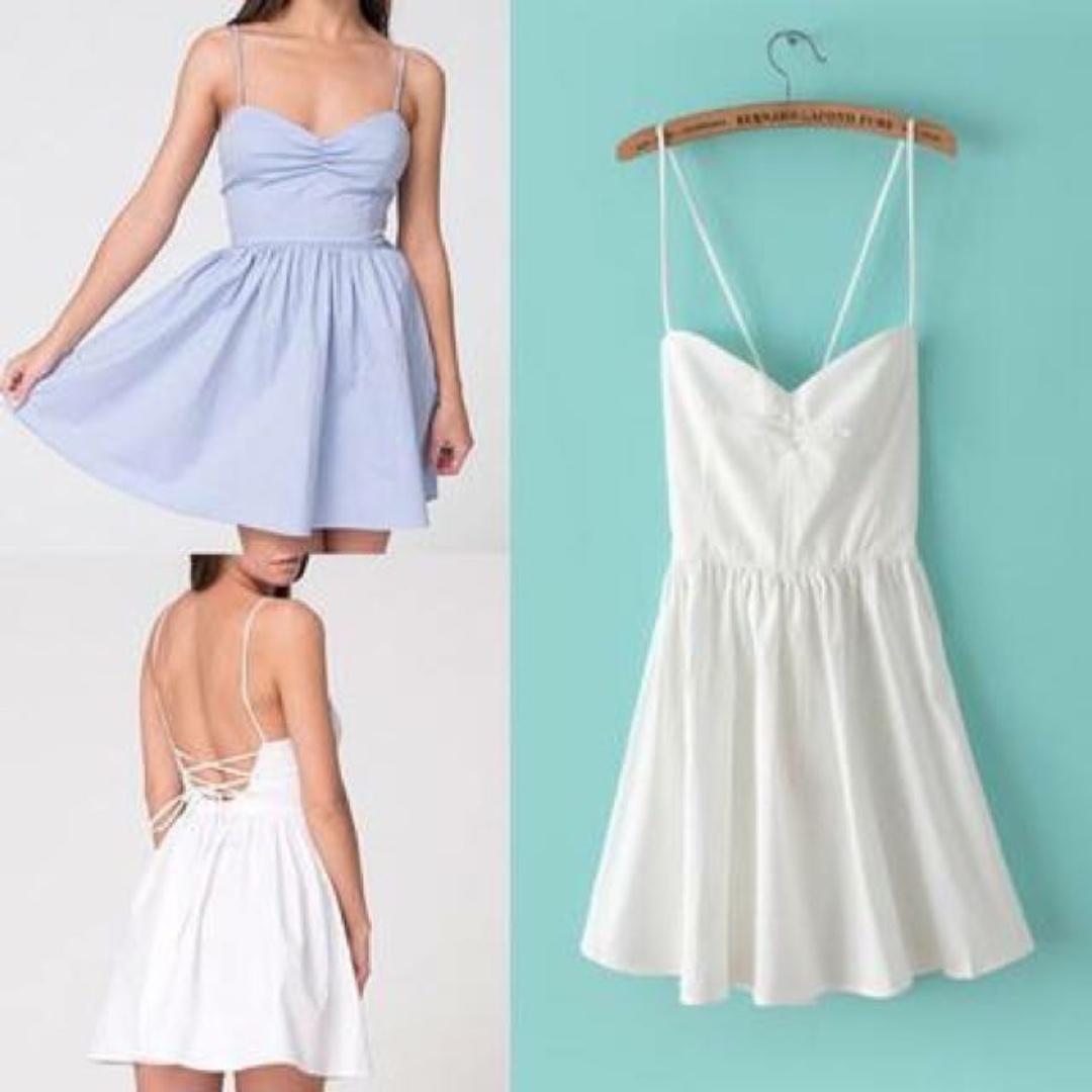歐美AA款american apparel後背交叉綁帶露背細肩帶洋裝連身裙 藍白條紋 S號 #含運最划算