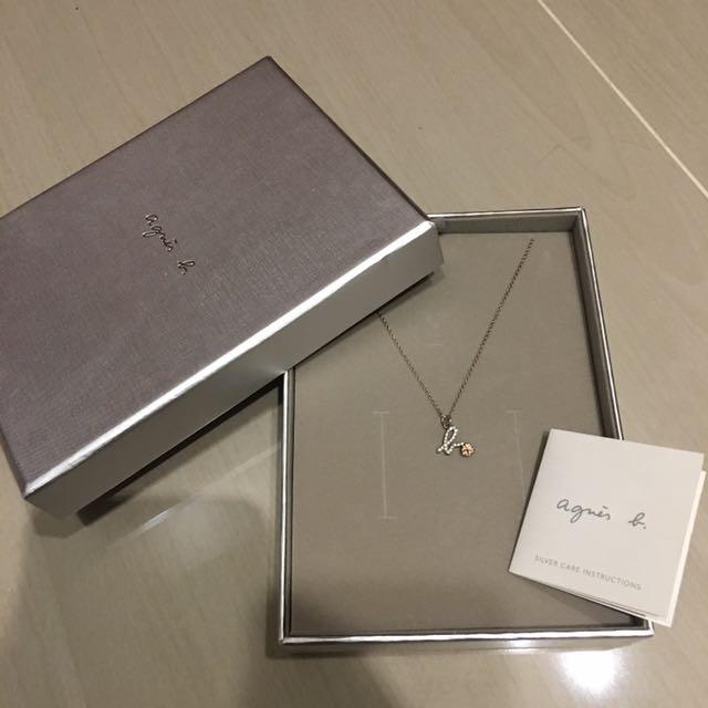 agnes b純銀鑲鑽櫻花項鍊