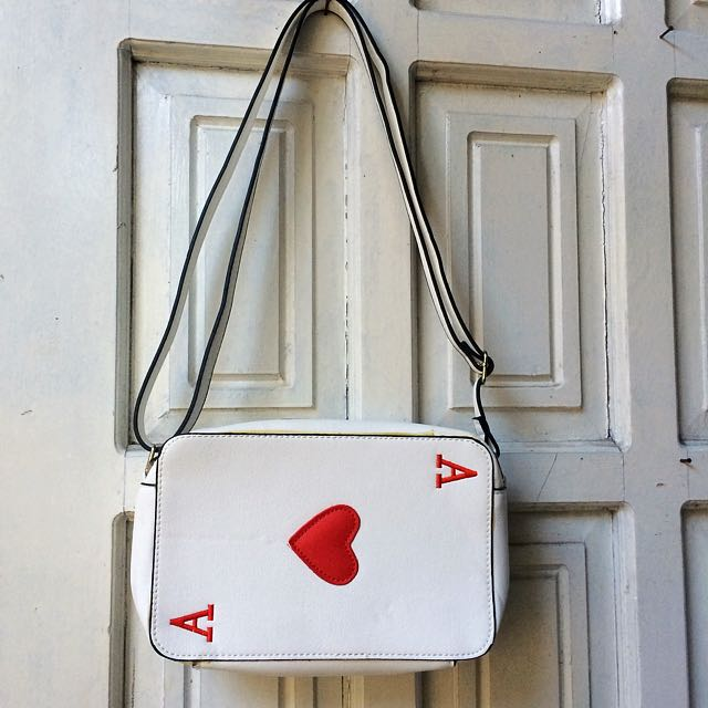 SUPERSALE!! ASOS Ace Of Hearts Crossbody Bag White