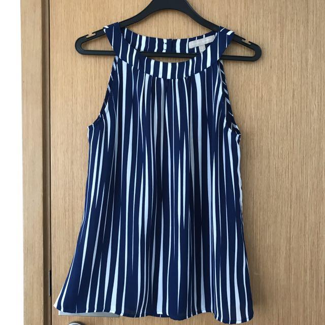 e544eeb9f6b Banana Republic Blue White Striped Sleeveless Top US Size 2