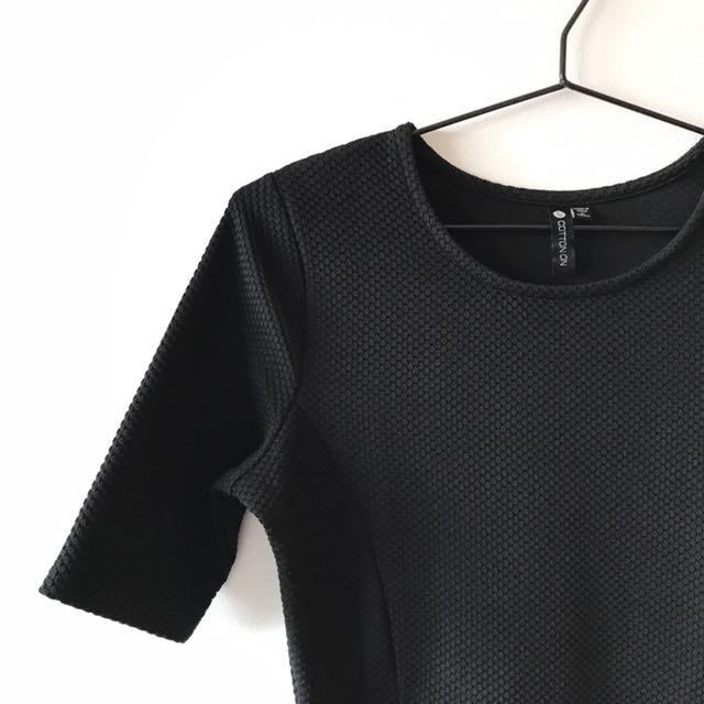 Black 3/4 Sleeved Dress
