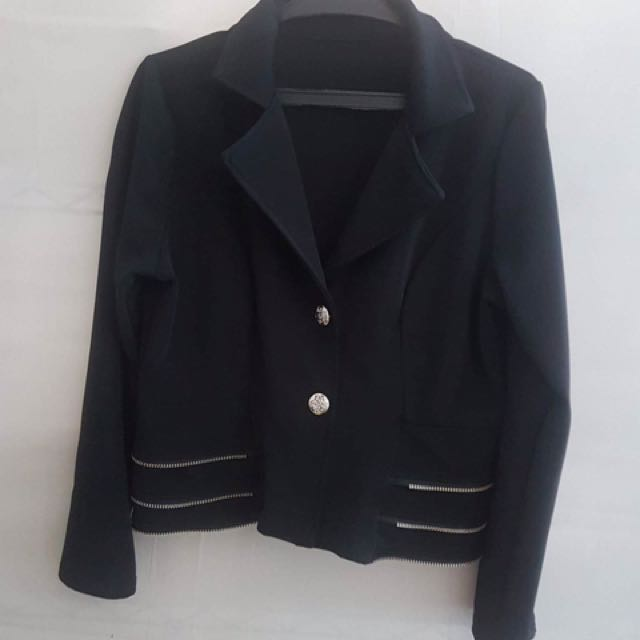 Black Blazer with gold zipper design