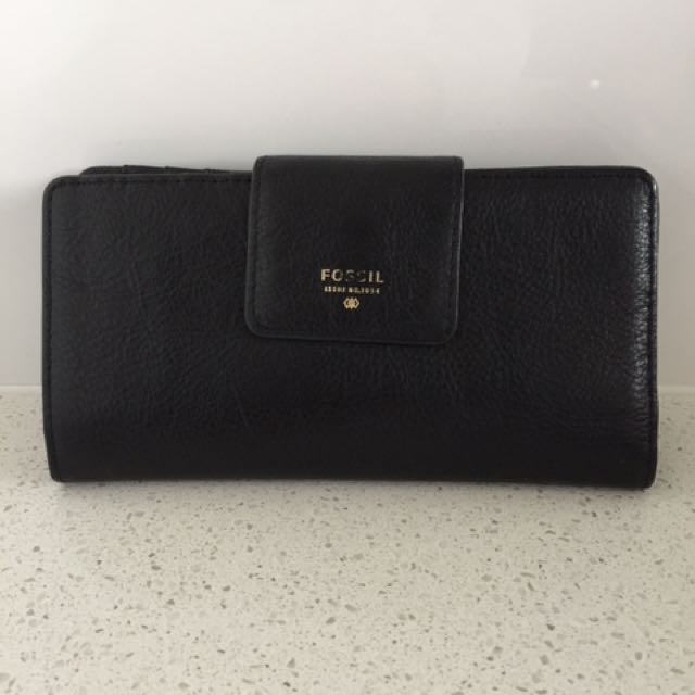 Black Lather Wallet From Fossil