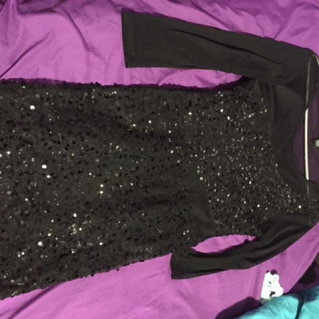 Black Mesh Sequin Dress From Sirens