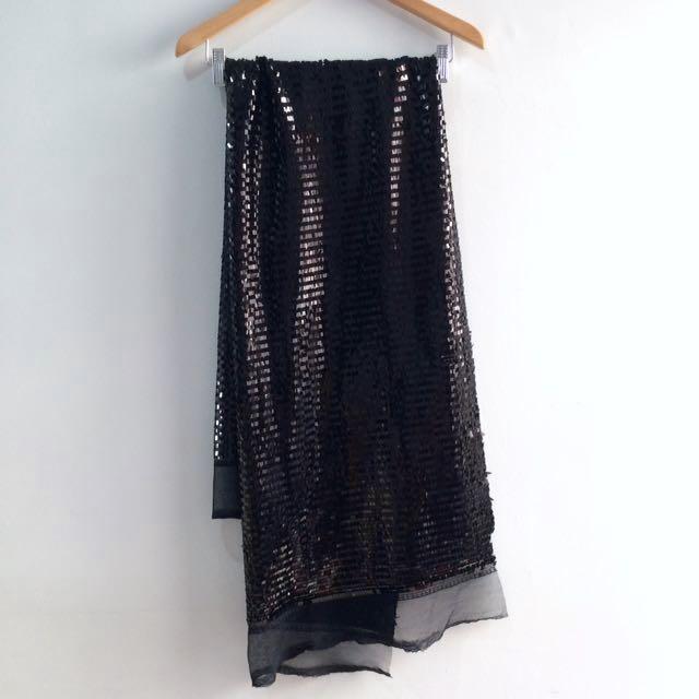 Black Sequin Material Bahan Baju Bling Sparkling Manik