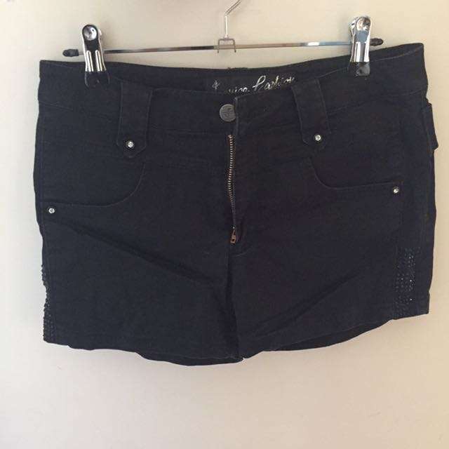 Black Shorts With Glitter Detailing