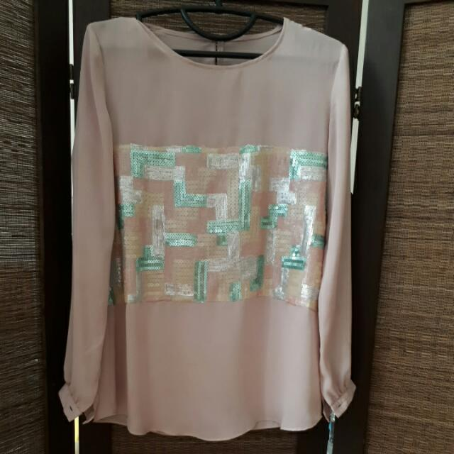 Blouse Dusty Pink With Sequin