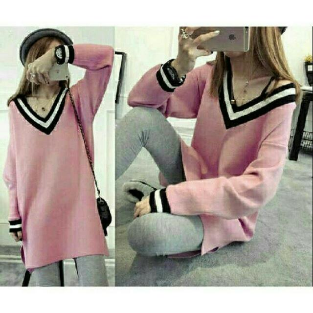 BLOUSE PINK V BASEBALL CD53 • CTB