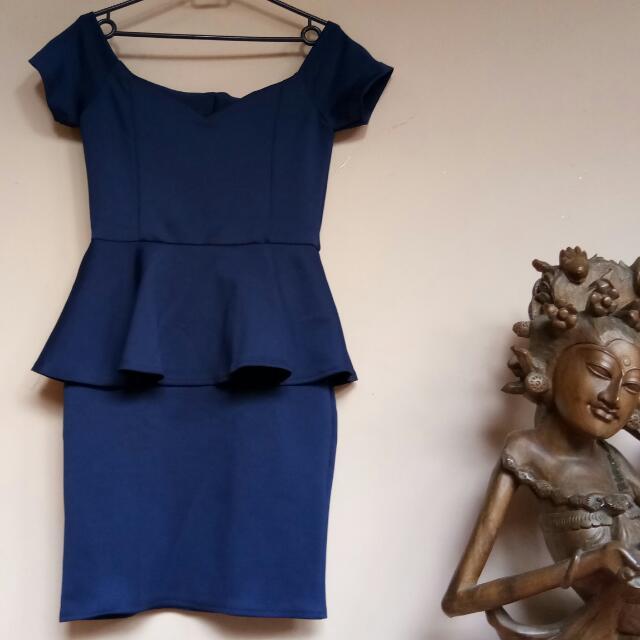 Blue Sabrina Peplum